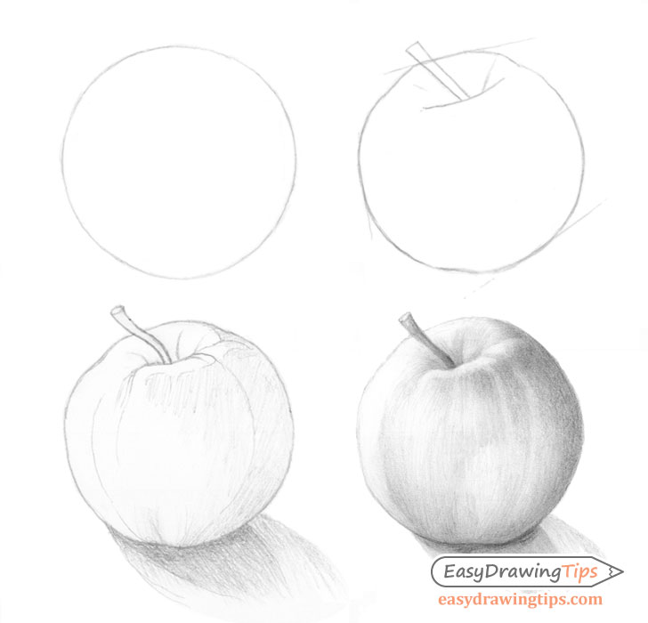 How To Draw An Apple Tutorial Step By Step Easydrawingtips