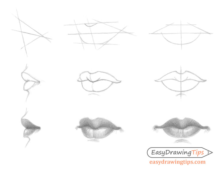 Line Art Lips : How to draw lips from different views