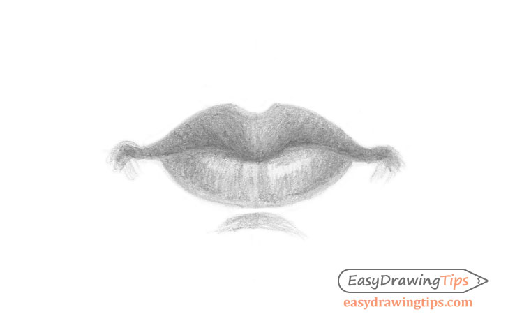 Lips front view shaded drawing