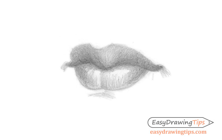 Lips three quarter view shaded drawing