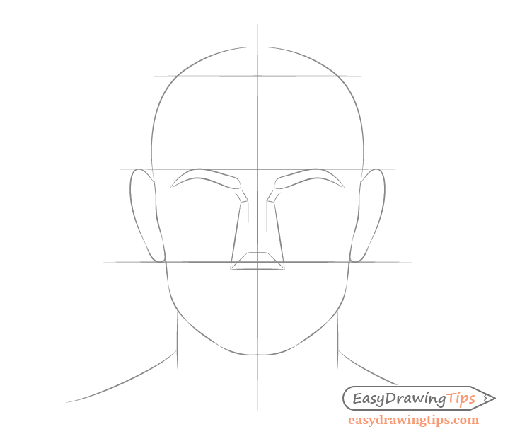 Male face drawing ear placement