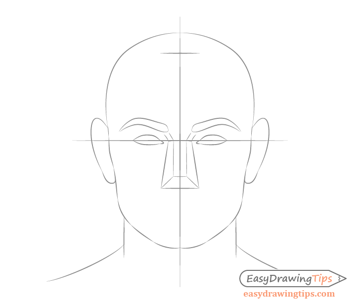 Male face drawing eye placement