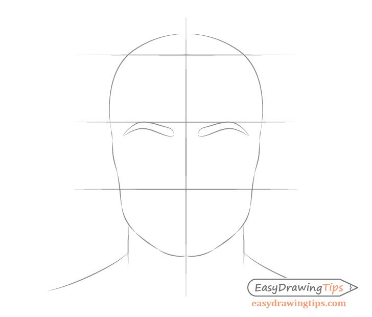 Male face drawing eyebrow placement