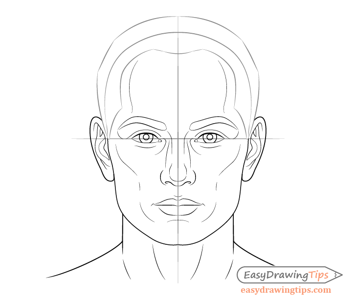Male face drawing hair outline