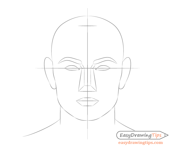 Male face drawing mouth placement