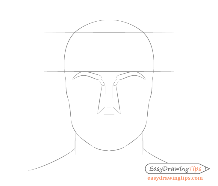 Male face drawing nose placement