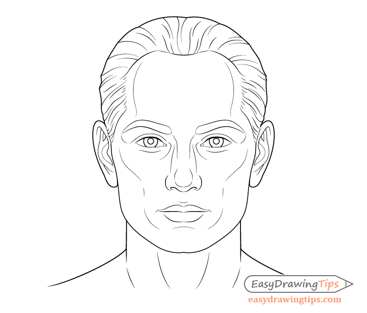 Male face line drawing