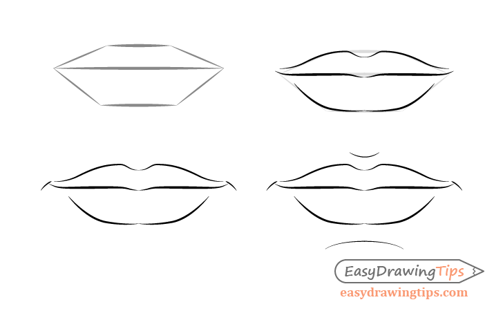 Male lips front view drawing step by step