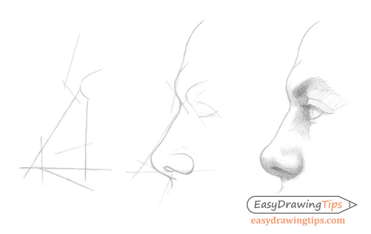 3 step side view nose drawing