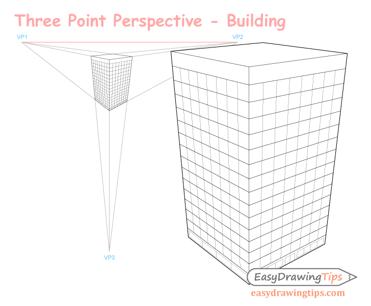 Three point perspective building drawing