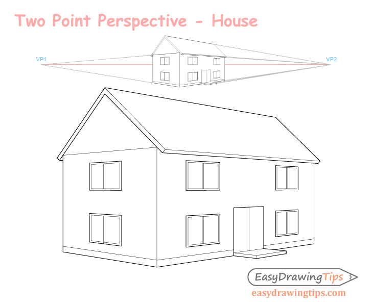 Three point perspective house drawing