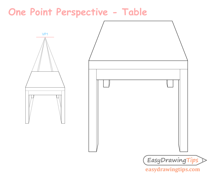 Three point perspective table drawing