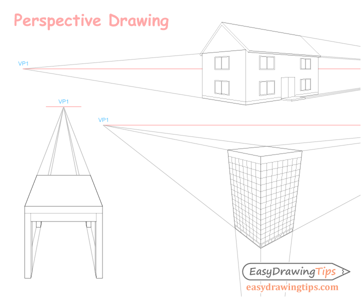 Perspective drawing collage