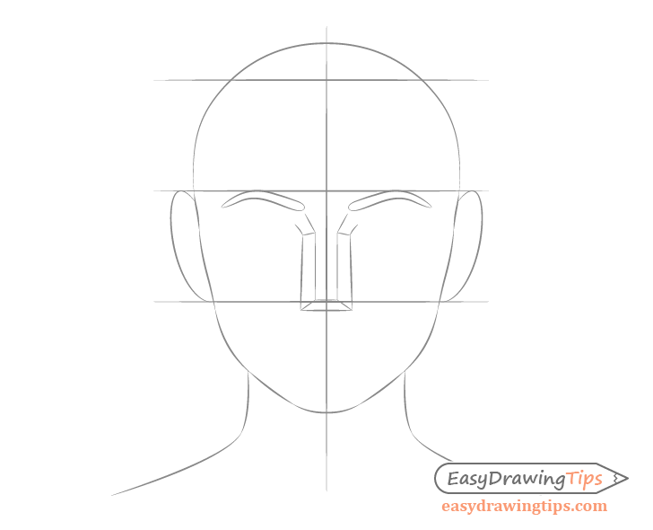Female face drawing ear placement