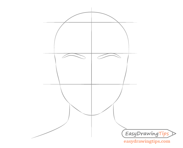 Female face drawing eyebrow placement