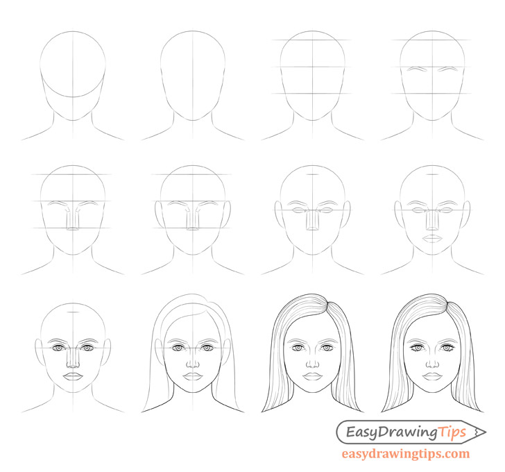 Female face drawing step by step