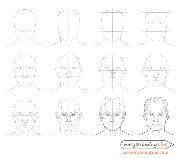 Male face drawing step by step