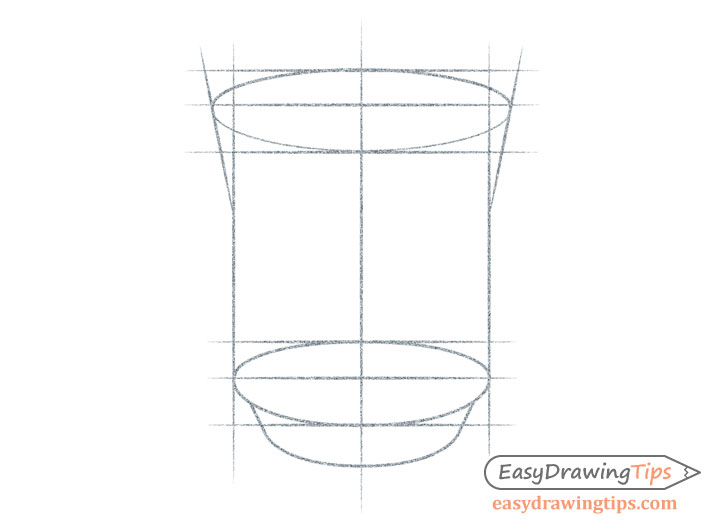 Drawing cup top and bottom shapes