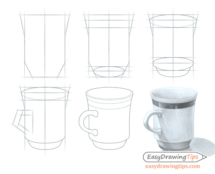 Cup drawing step by step