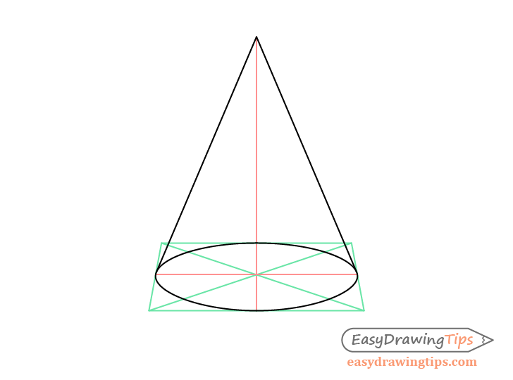 Cone perspective drawing construction sides