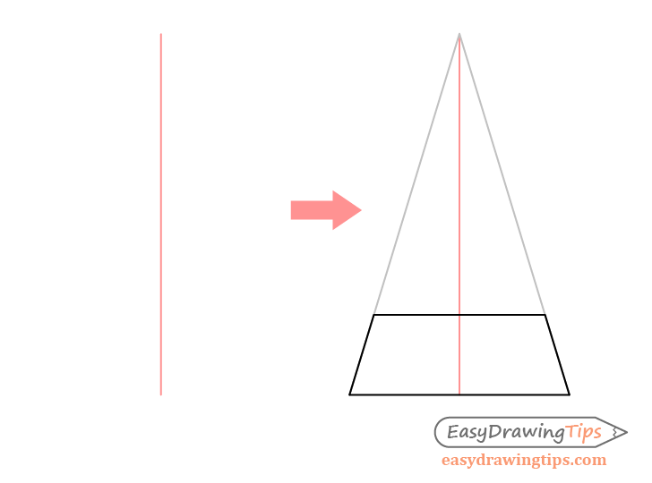 Pyramid one point perspective drawing base