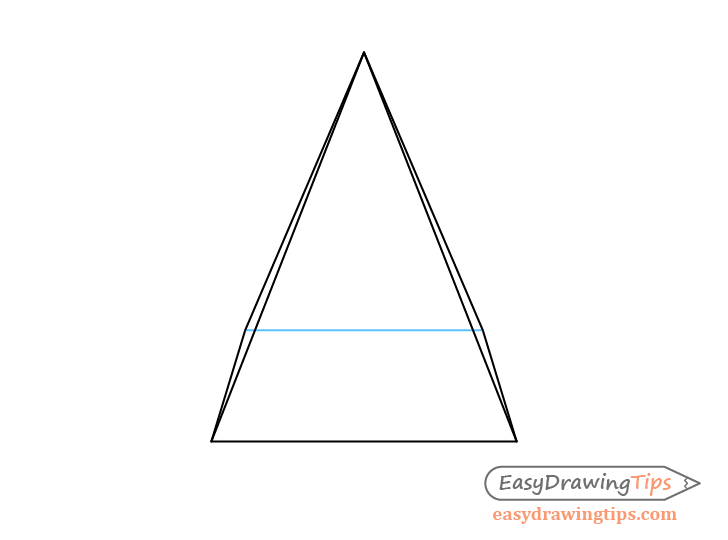 Pyramid one point perspective see through drawing