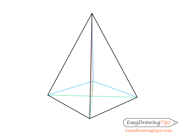 Pyramid two point perspective drawing with construction lines