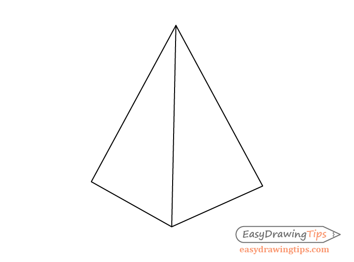 Pyramid two point perspective line drawing