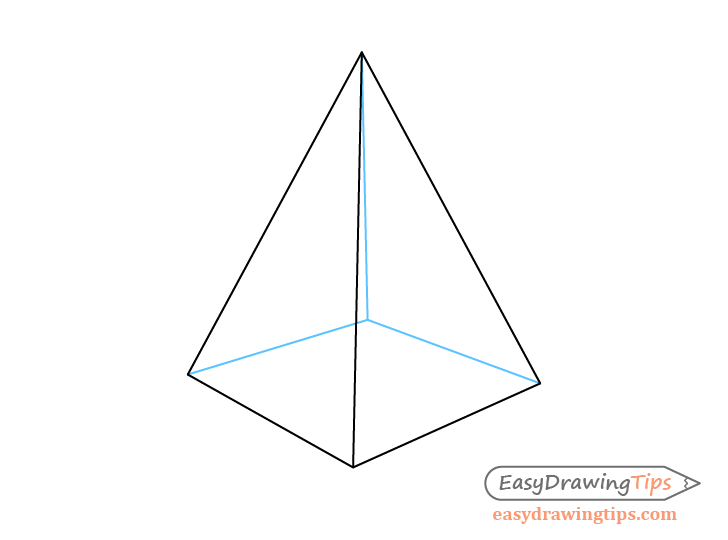 Pyramid two point perspective see through drawing