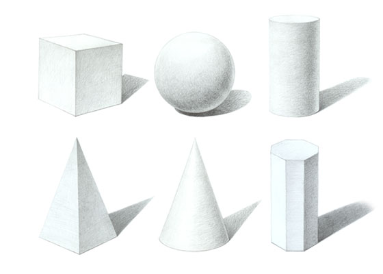 Three dimensional shapes drawings