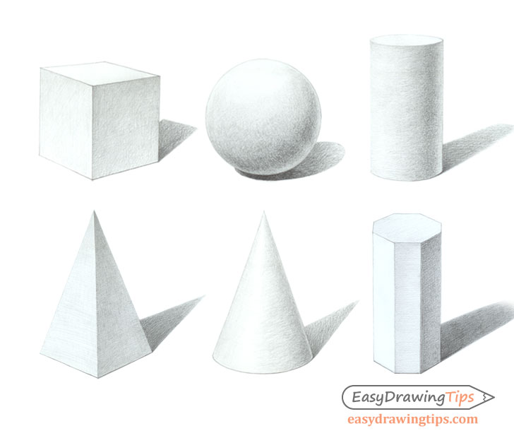 Three dimensional shapes shaded drawings
