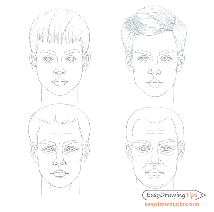 Male face drawing different ages