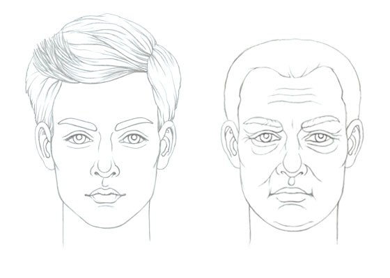 Male face drawing old and young