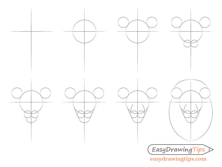 Lion basic head shape step by step drawing
