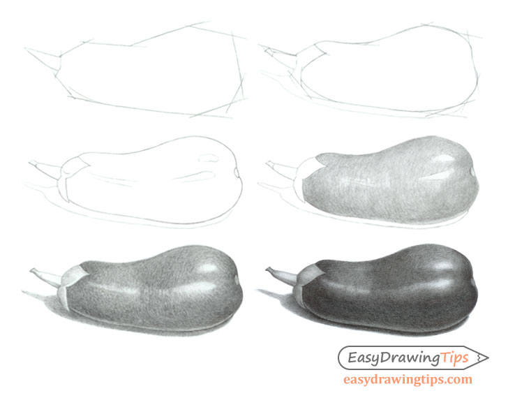 Eggplant drawing step by step