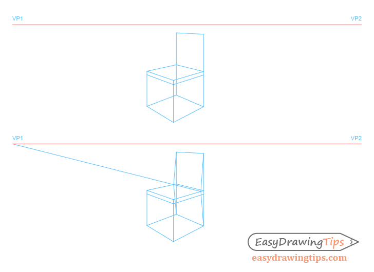Chair perspective backrest shape drawing