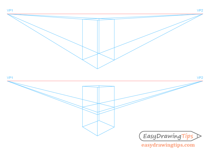 Chair perspective construction drawing