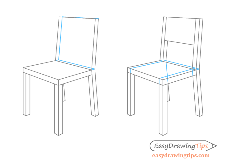 Chair perspective drawing close up