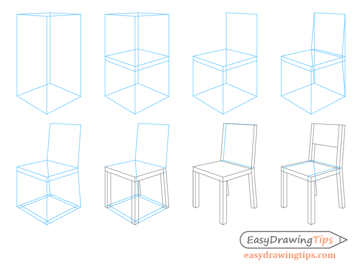 Chair perspective drawing step by step