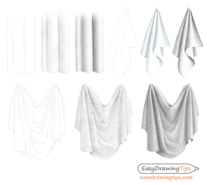 Cloth folds drawing step by step