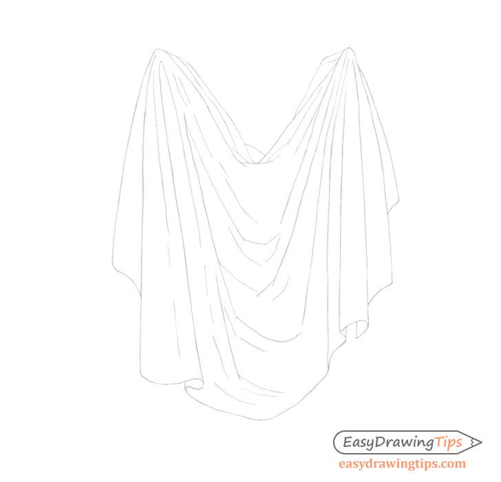Cloth folds line drawing double
