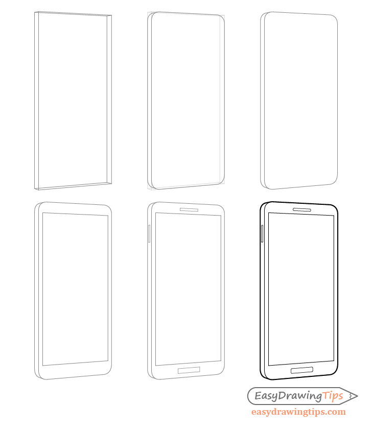 Phone drawing step by step