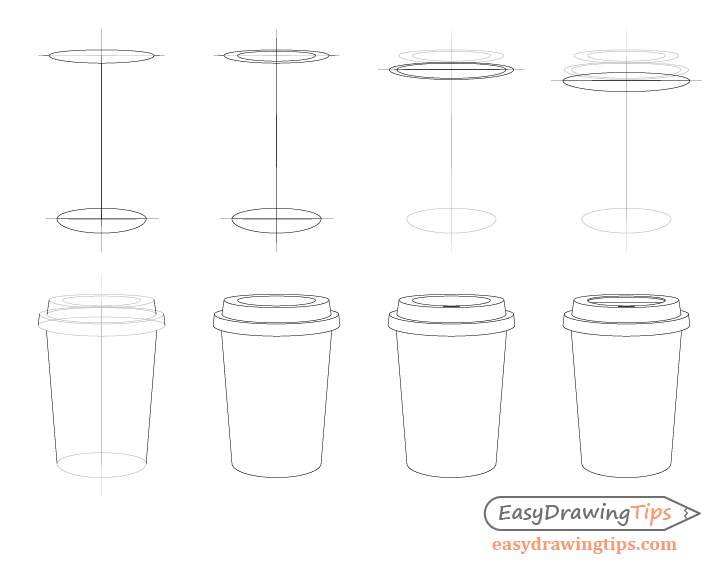 Coffee cup drawing step by step