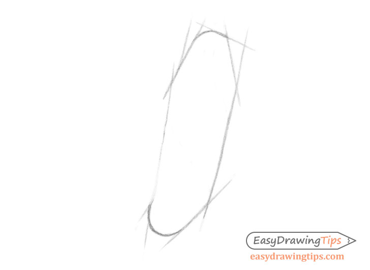Ear front view outer shape construction drawing
