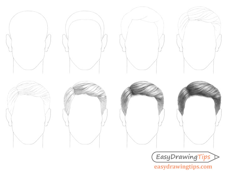 Combed male hair drawing step by step