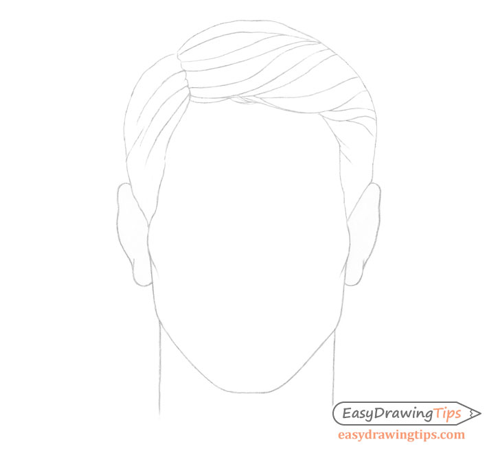 Male combed hair details drawing