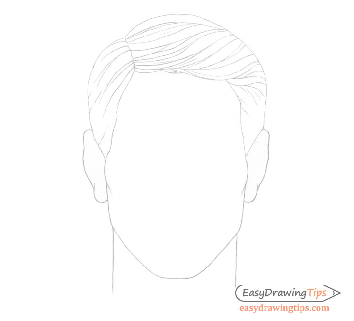 Male combed hair line drawing