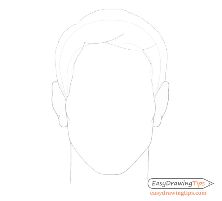 Male combed hair on head drawing