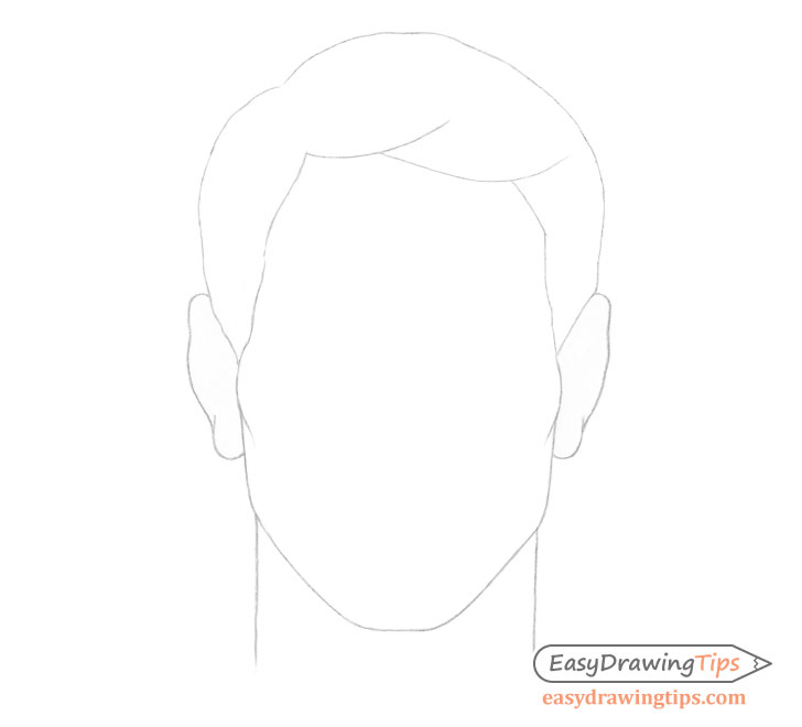 Male combed hair outline drawing