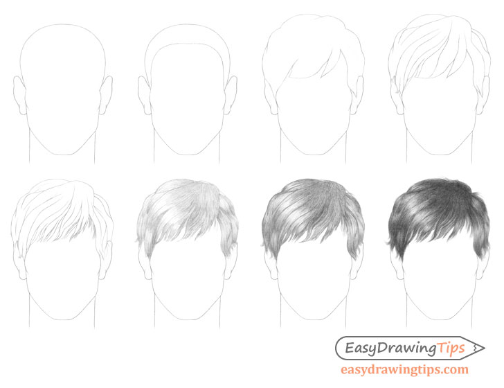 Male hair drawing step by step